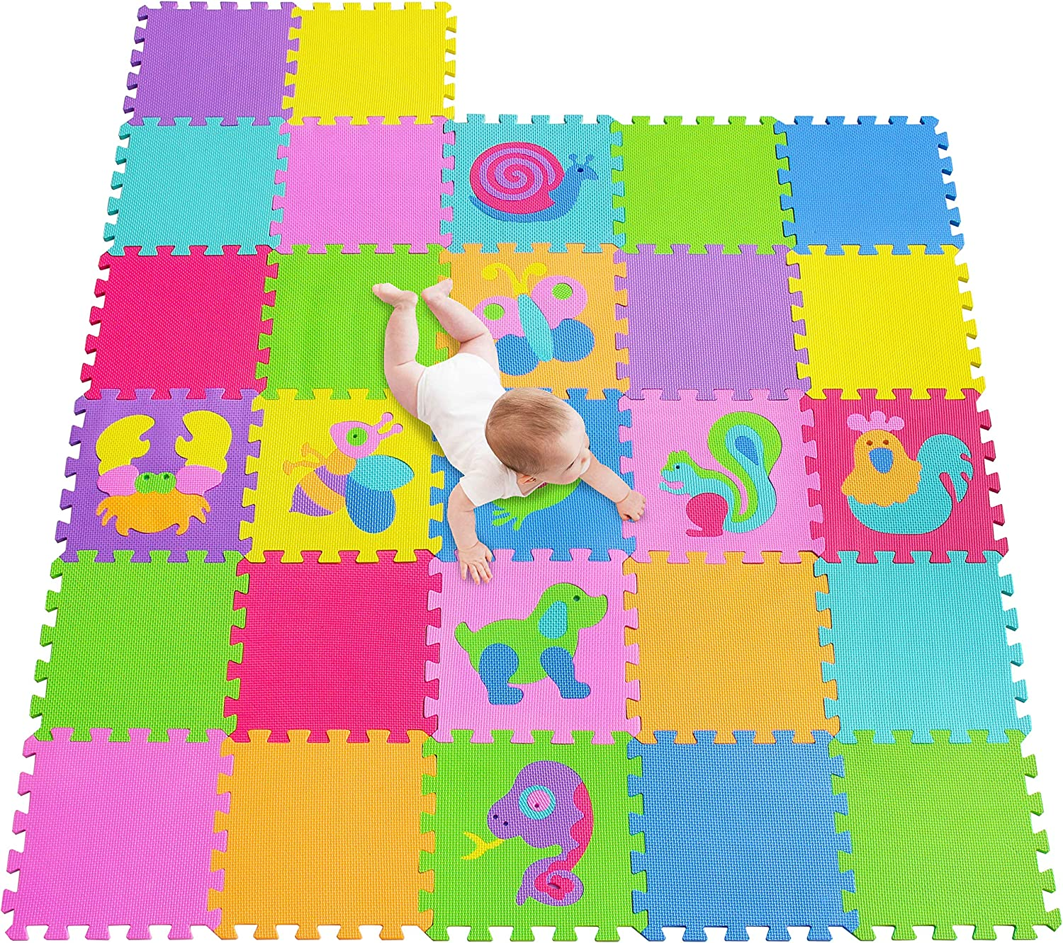 Meiqicool EVA Foam Puzzle Play Mat for Baby Non Toxic Interlocking Soft Floor Tiles Multi Color 27 PCS 1011CS9 Kids Toddler Infant Children Room and Yard Exercise Gym Decor