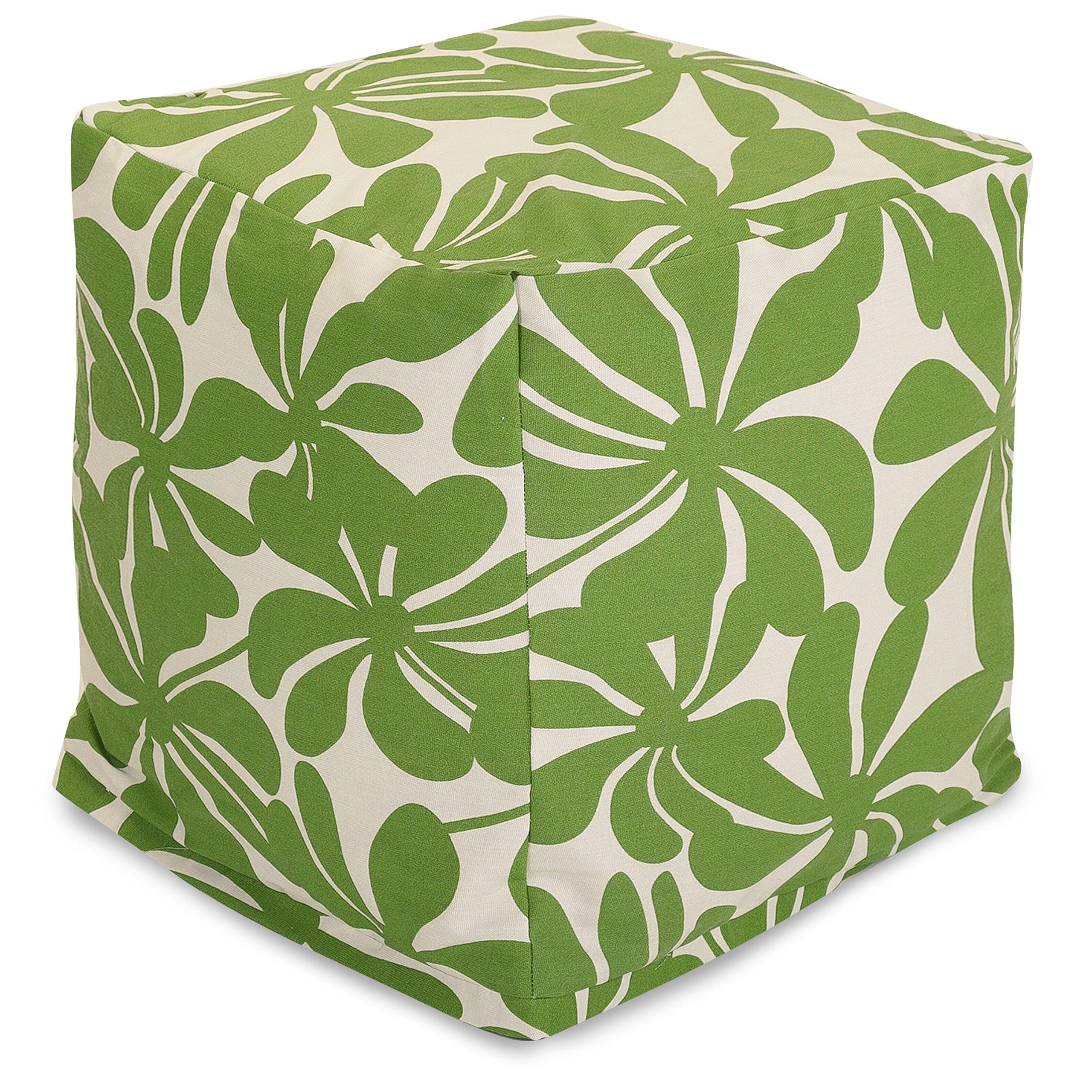 Majestic Home Goods Sage Plantation Indoor/Outdoor Bean Bag Ottoman Pouf Cube 17'' L x 17'' W x 17'' H