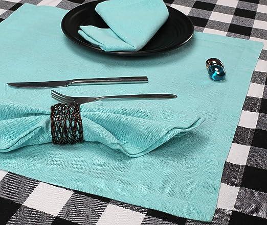 Amazon Com Cotton Dinner Napkin 18x18 Inch Aqua Everyday Napkins Cotton Napkins Wedding Napkins Cocktails Napkins Tailored With Mitered Corners Generous Hem Easy Care Home Kitchen