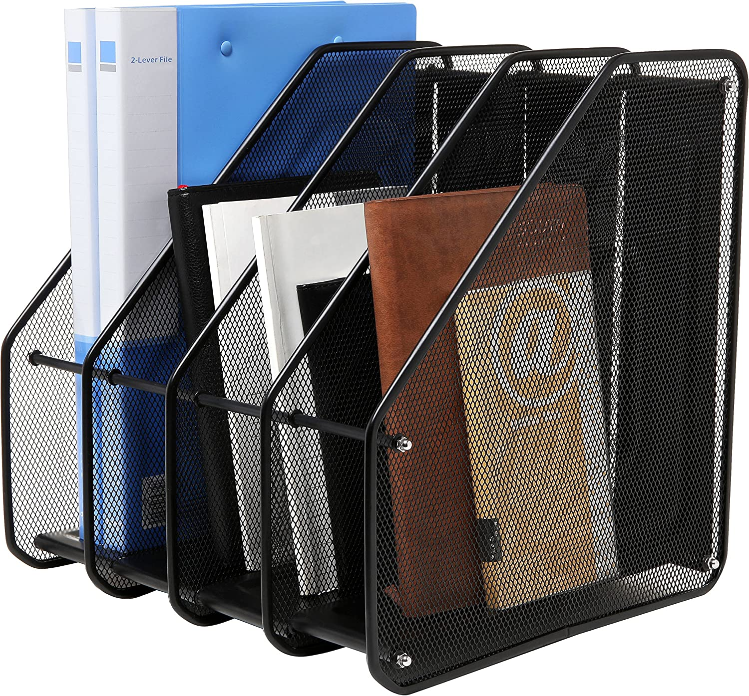 Heavy Duty 4 Compartment Black Metal Mesh Office Desktop Document & File Organizer Rack/Magazine Holder