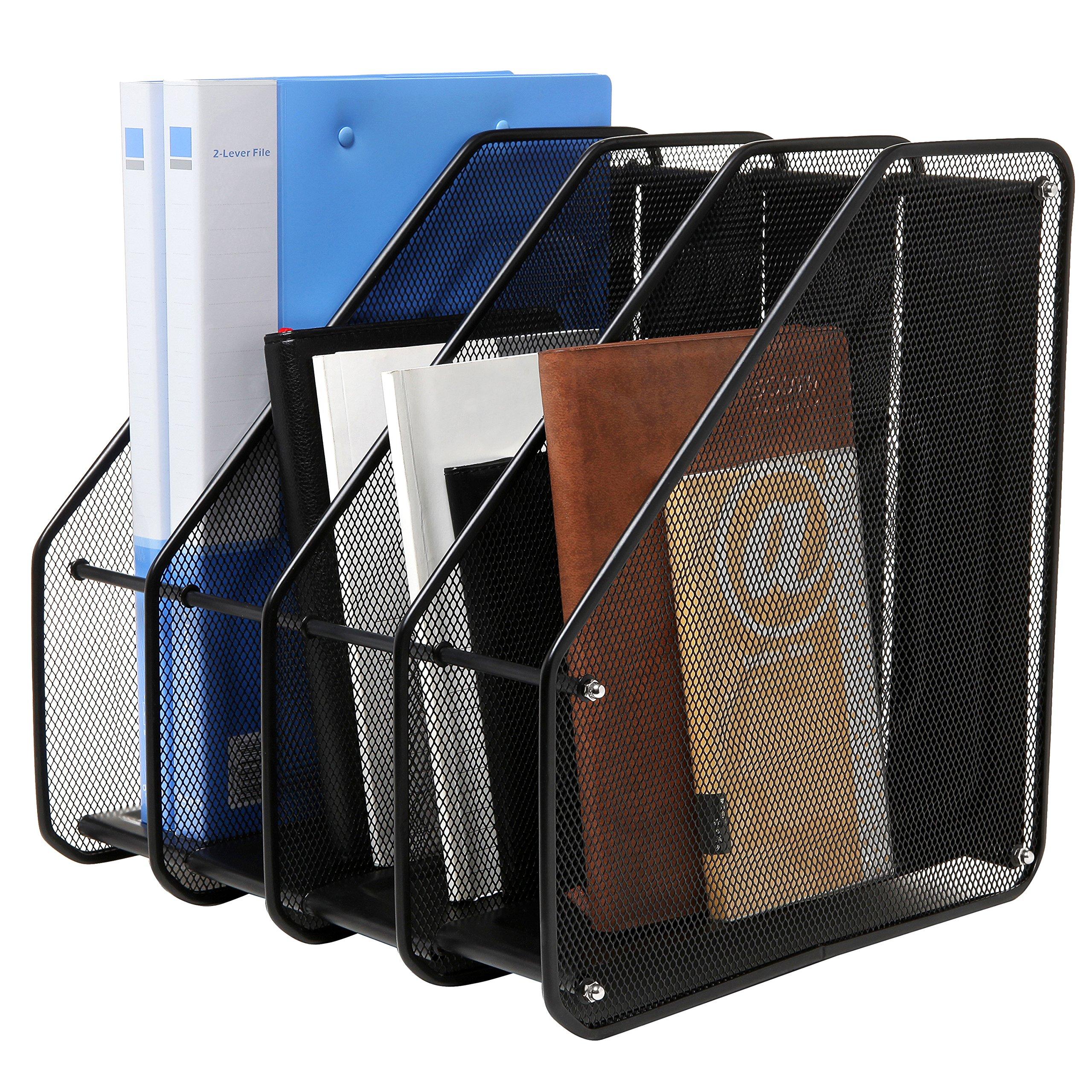 Heavy Duty 4 Compartment Black Metal Mesh Office Desktop Document & File Organizer Rack/Magazine Holder
