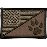 USA Flag / Tracker Paw Scout Emblem 2.25x3.5 Military Patch / Morale Patch - Multiple Color Options (Coyote Brown)