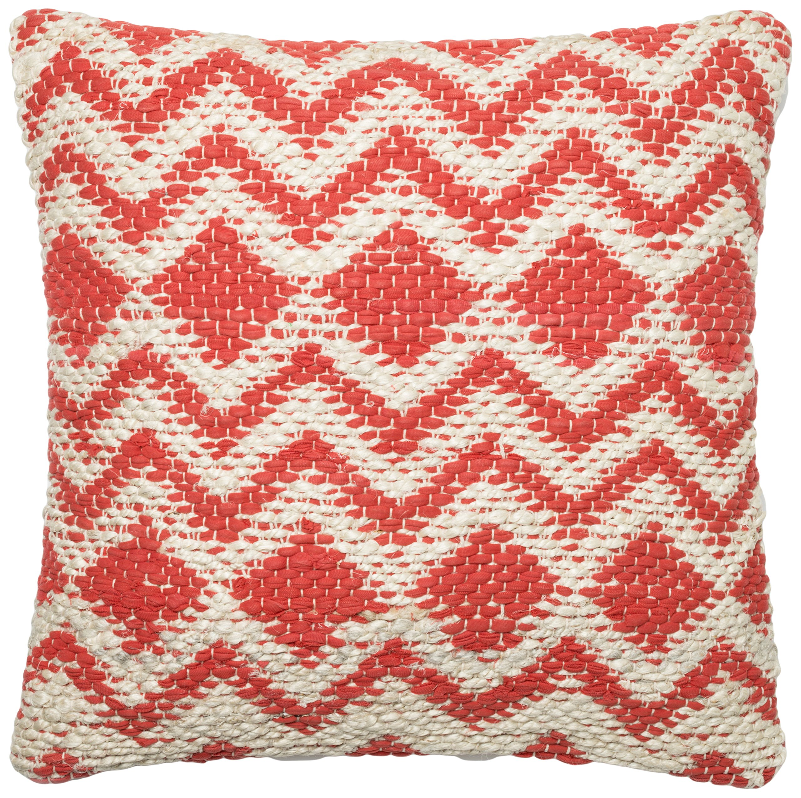 Loloi Pillow, Down Filled - Coral / Grey Pillow Cover, 22'' x 22''