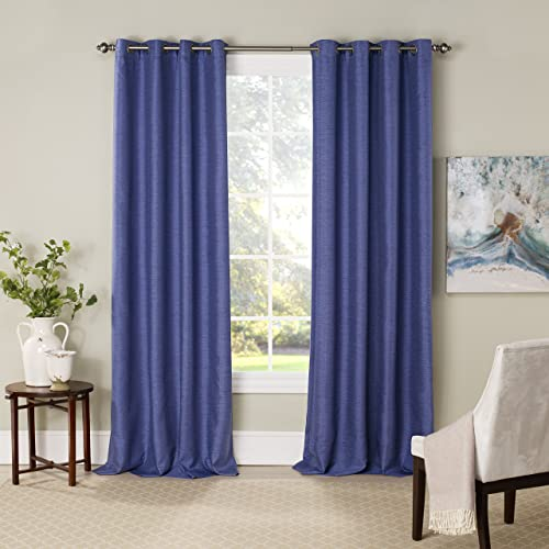 Eclipse Blackout Curtains for Bedroom – NewportInsulated Darkening Single Panel Grommet Top Window Treatment Living Room, 52 x 63 , Nightfall