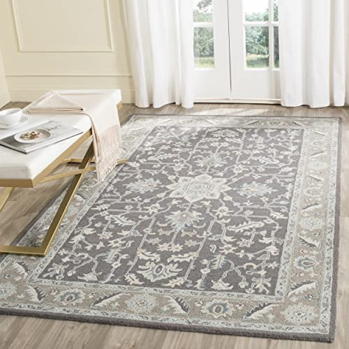 Safavieh Blossom Collection BLM217A Handmade Oriental Dark Grey and Light Brown Premium Wool Area Rug 5' x 8'