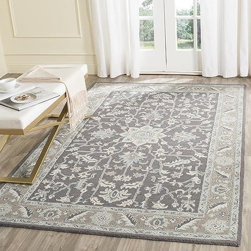 Safavieh Blossom Collection BLM217A Handmade Oriental Dark Grey and Light Brown Premium Wool Area Rug 5' x 8'