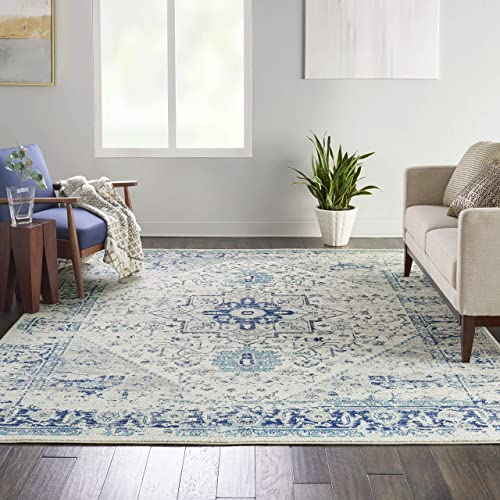 Nourison TRA06 Tranquil Persian Vintage Ivory/Light Blue Area Rug 8'10″ X 11'10″