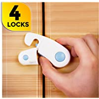 Child Safety Cabinet Locks - Pack of 4 Baby Proof Cupboard Lock - Kitchen Child Proofing Safety Kit with 3M Adhesive