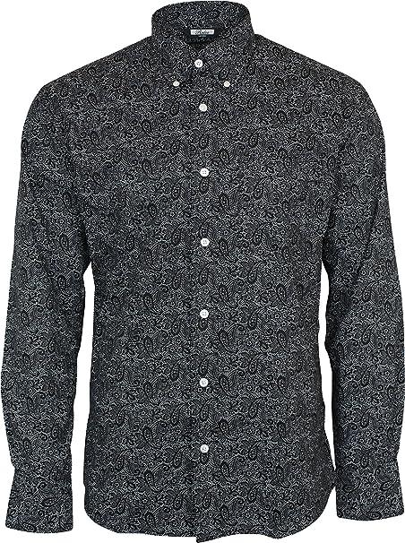 78b145e8bc1 Relco Men s Black Paisley Longsleeve Button Down 100% Cotton Shirt Small