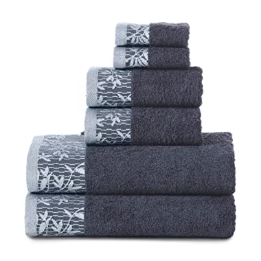 Superior Wisteria 100% Cotton Towel Set, 6 Piece, Navy Blue