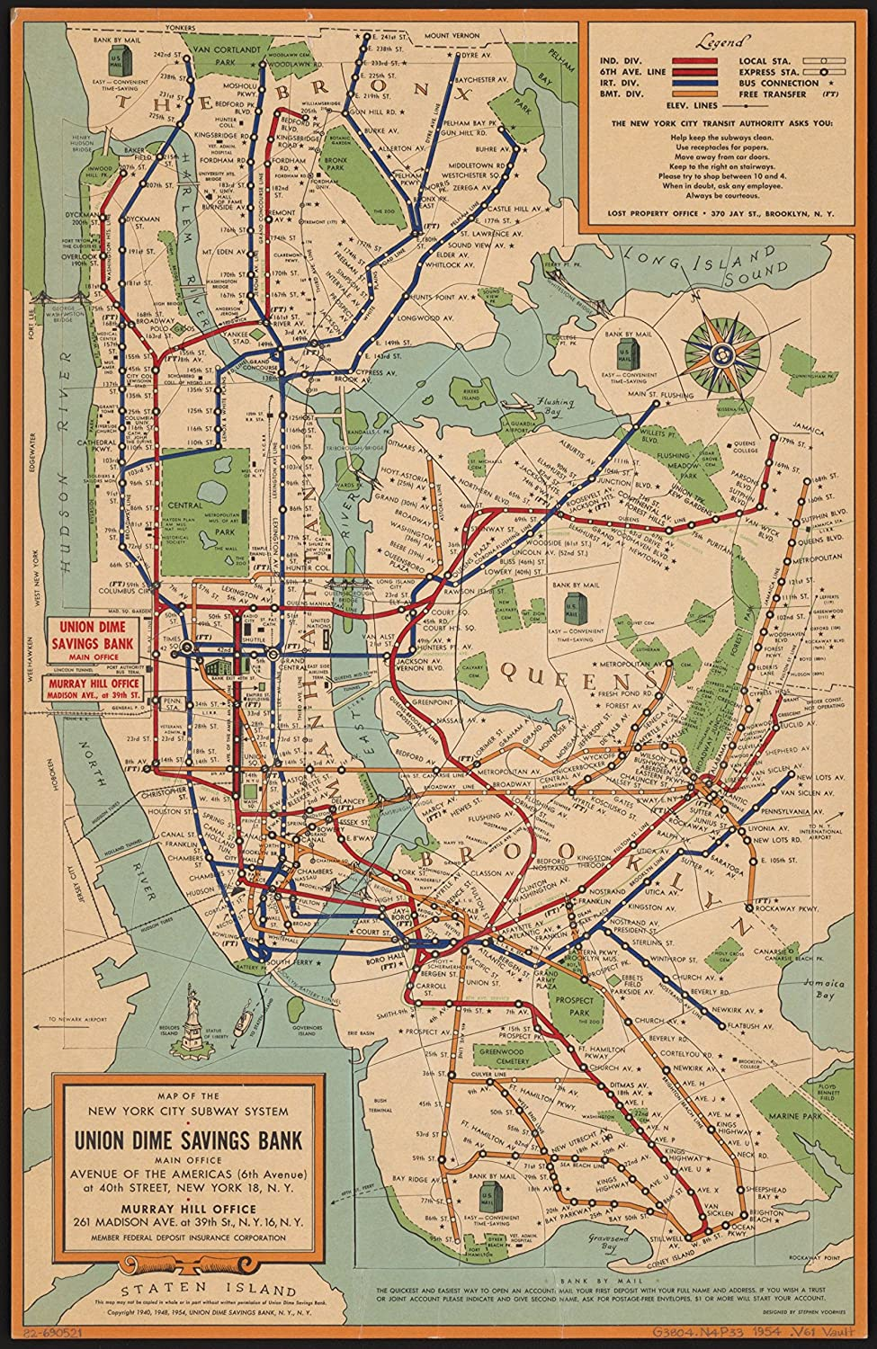 8 x 10 Reprinted Old Vintage Antique Map of: c 1954 Map of The New York  City Subway System m1753