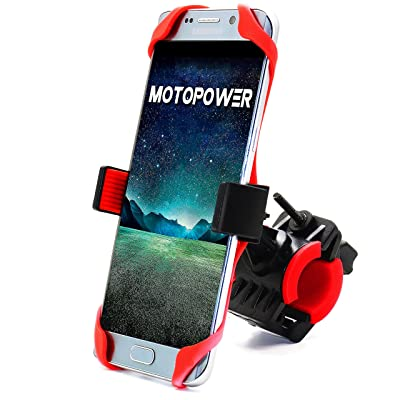 "MOTOPOWER MP0616B Universal Bike Motorcycle Phone Mount Holder Mountain & Road Bicycle Motorcycle Handlebar Cradle Holder - Holds Phones Up to 3.7"" Wide - RED: Home Audio & Theater"