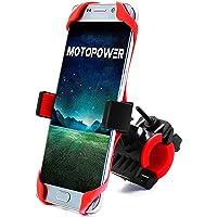MOTOPOWER MP0616B universel Vélo Moto téléphone support de fixation de montagne et route de vélo moto Guidon support de berceau téléphones – Peut contenir jusqu'à 9,4 cm de large – Rouge
