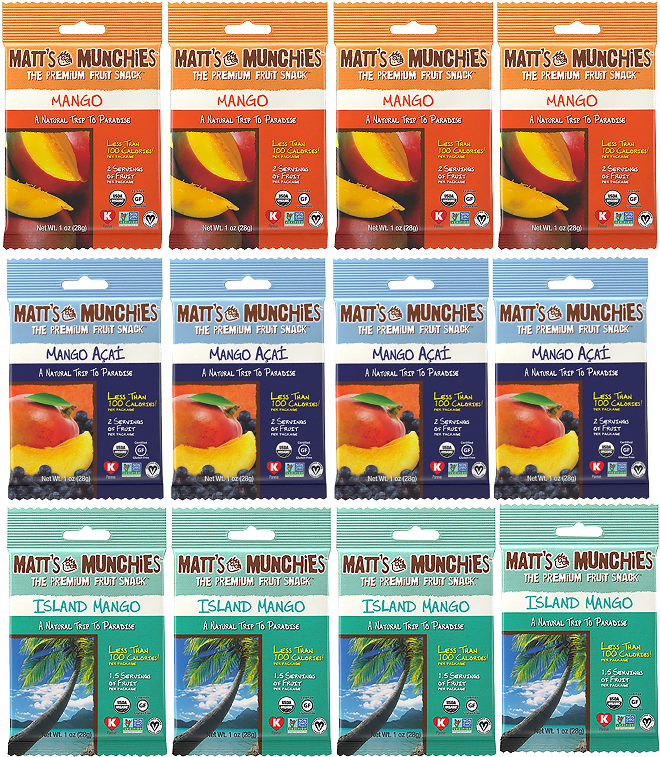 Matt's Munchies Mango Mattness Variety Pack of 12 - Mango, Mango Acai, Island Mango - Non-GMO, Organic, Vegan
