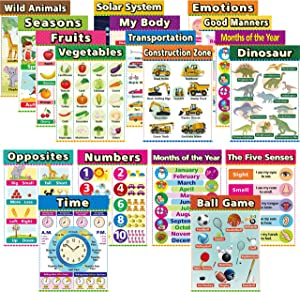 Educational Posters for Toddlers Learning Charts for Preschoolers Learning Poster for Preschool Kindergarten Classroom Decorations Homeschool Supplies Teach Fruits, Vegetables Five Senses (18 Pack)