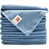 """(8-Pack) 300gsm 16""""x16"""" Aetinstar Microfiber Cleaning Cloths for Kitchen, Home, Car, Garage - Perfect for Detailing Car, Dusting Furniture, Polishing Windows, Stainless Steel(Blue)"""