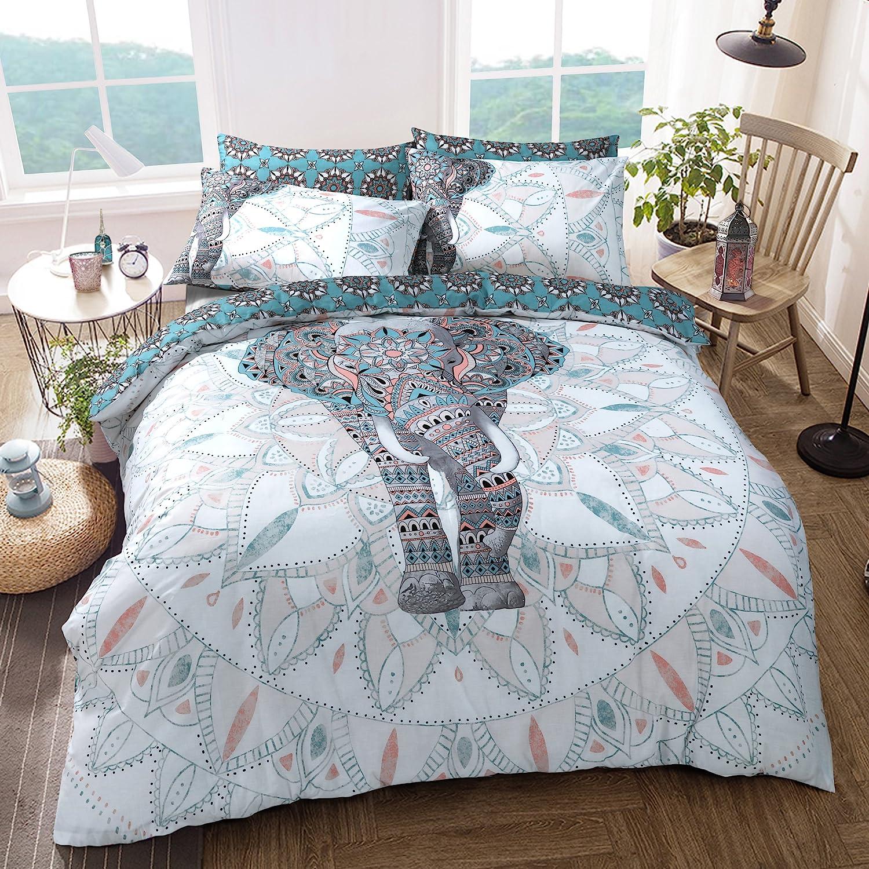 Sleepdown Elephant Mandala Juego de Funda de edredón tamaño King, algodón, Verde Azulado, Matrimonio