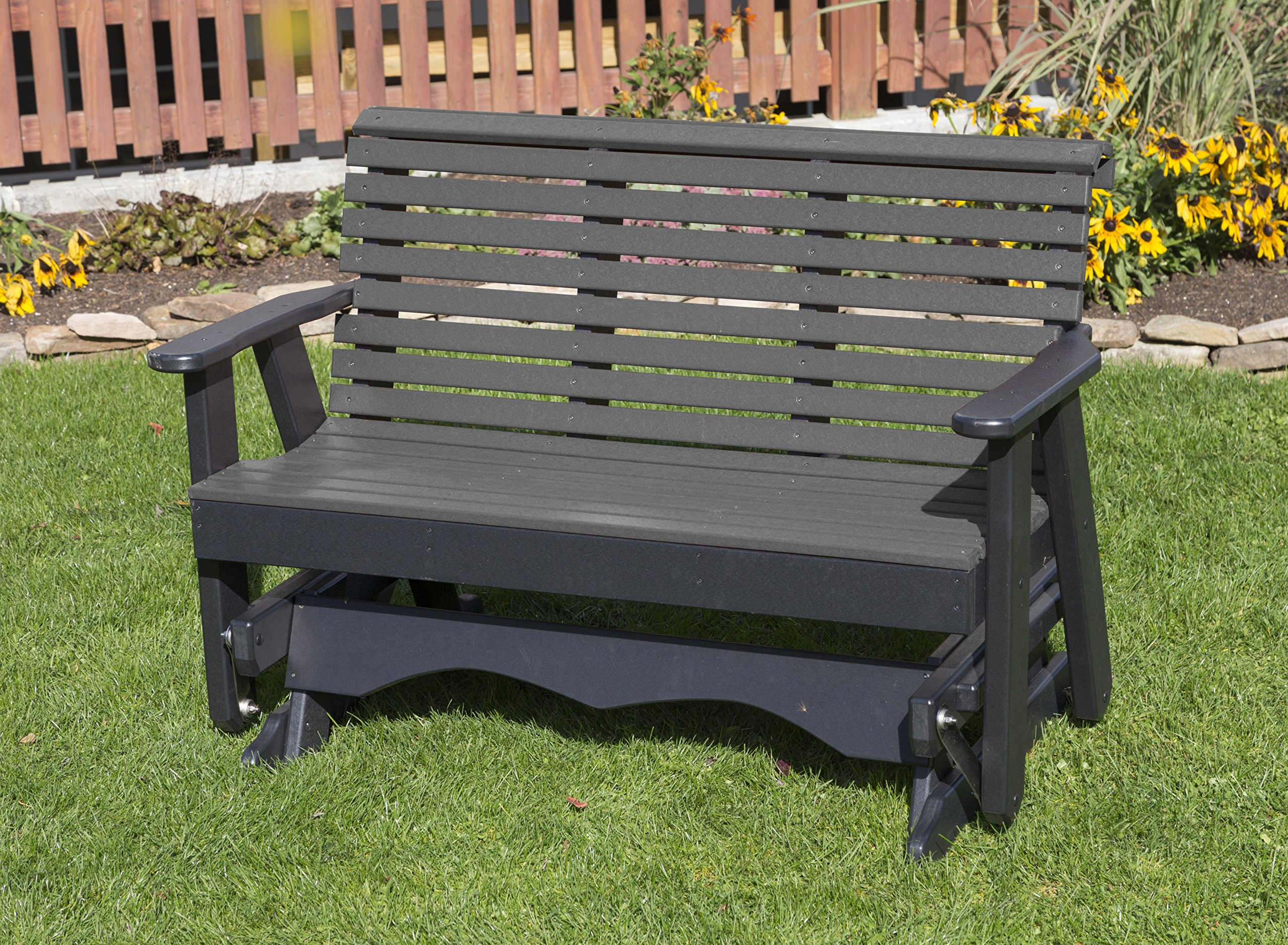 Ecommersify Inc 5FT-Dark Gray-Poly Lumber ROLL Back Porch Glider Heavy Duty Everlasting PolyTuf HDPE - Made in USA - Amish Crafted by Ecommersify Inc