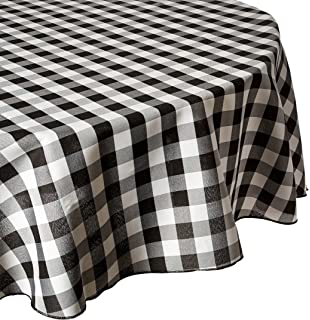 LinenTablecloth 90 Inch Round Polyester Tablecloth Black U0026 White Checker Part 92