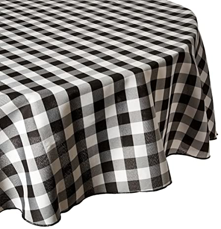 LinenTablecloth 90 Inch Round Polyester Tablecloth Black U0026 White Checker