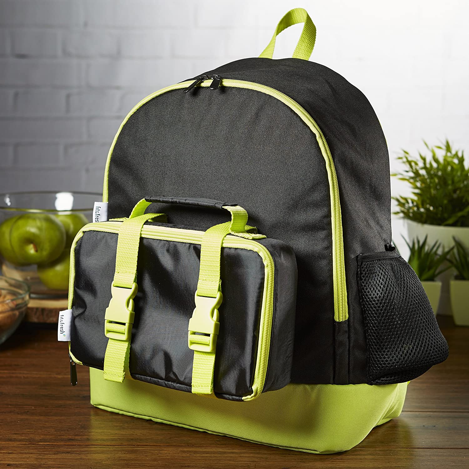 Black & Neon Fit & Fresh Kids' School Backpack with Bento Lunch Box (Black & Neon)