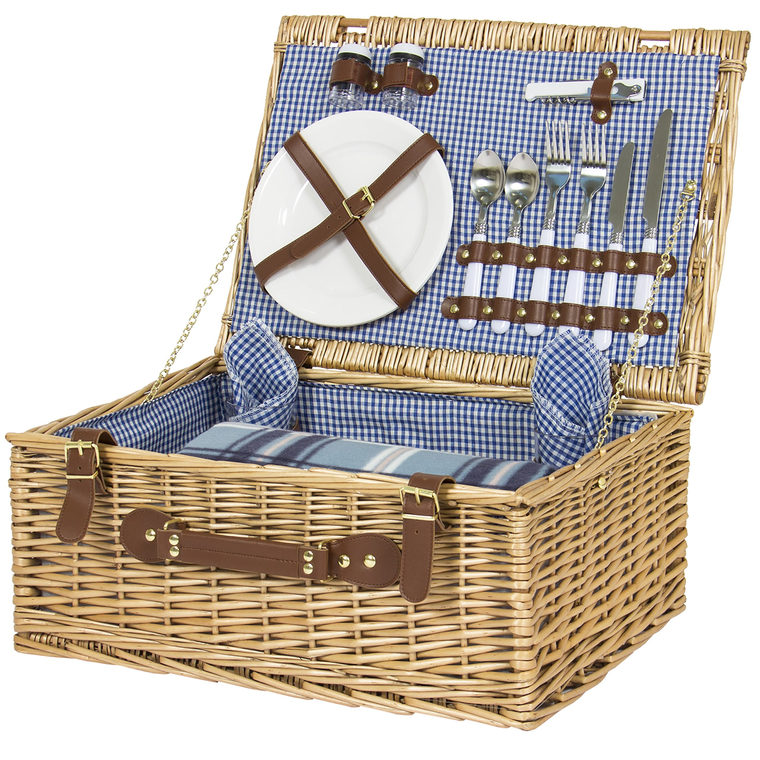 Myer Wicker Picnic Basket : Galleon best choice products person wicker picnic