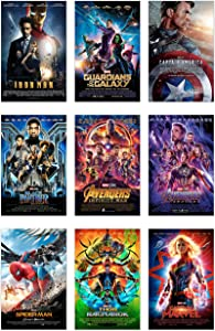 Marvel Movie Posters Iron Man,Black Panther,Captain Marvel,Thor, Avengers,Spider-man,Captain America,Guardians Of the Galaxy,Wall Art Decor Prints Photos Pics - (11x17) 9pk