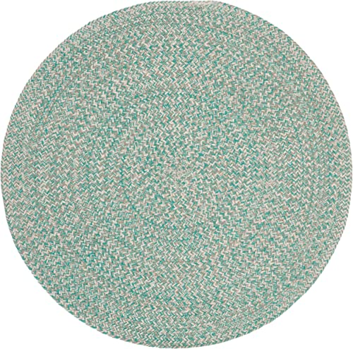 3ft Braided Circular Rug, Teal Ivory Braid Weave Round Area Rug, Light Turquoise Off-White Indoor Carpet Country Farmhouse Theme Circle Floor Mat Bedroom Living Dining Room Kitchen, Hand-Woven Cotton