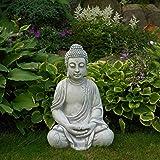 Große Buddha Figur in Elfenbein-Optik - Dharmachakra-Mudra