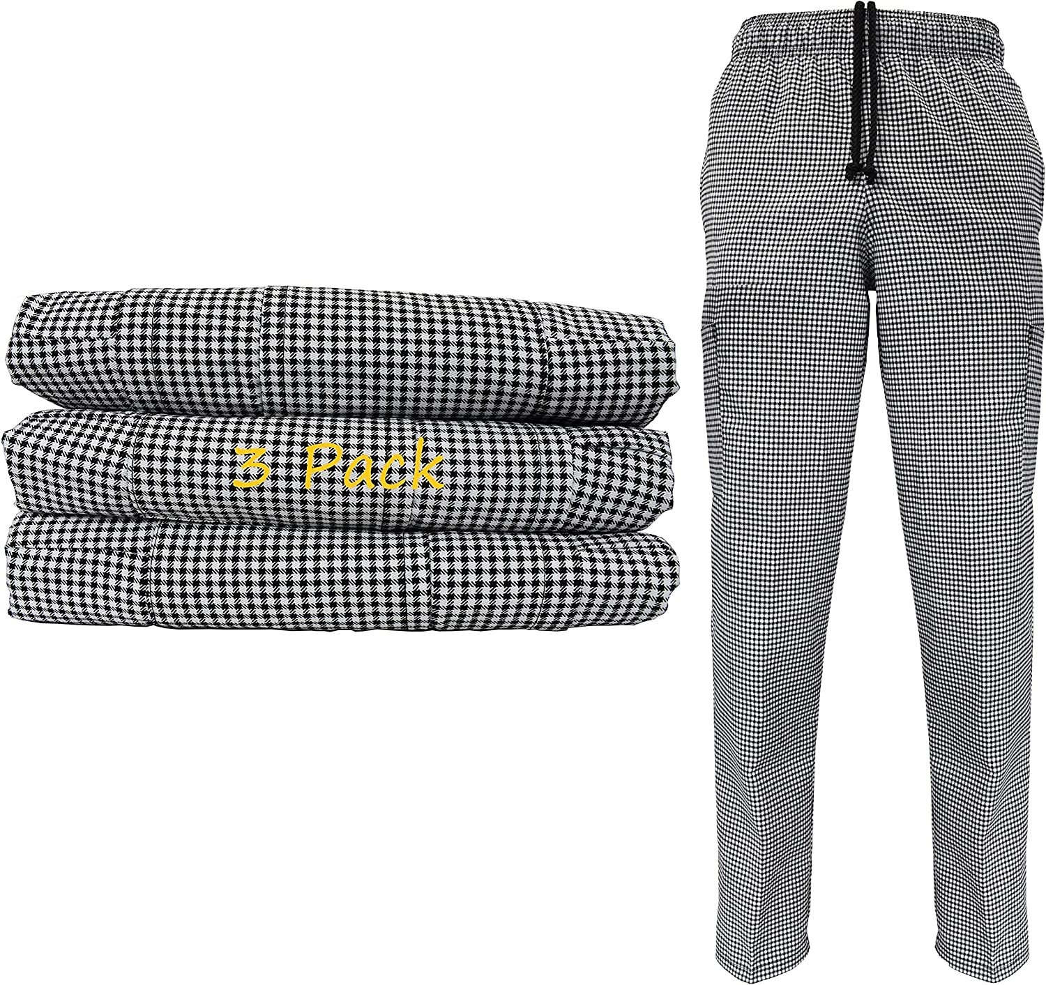 Natural Uniforms Classic Houndstooth Chef Pants-100% Cotton with Multi-Pack QTYS Available