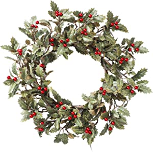 YNYLCHMX Artificial Christmas Wreath for Front Door, Door Wreath Flushed with Holly Leaves with Red Berry, Home Decor for Indoor, Windows, Wall, Fireplace, Holiday, Party Decoration, 20 Inch