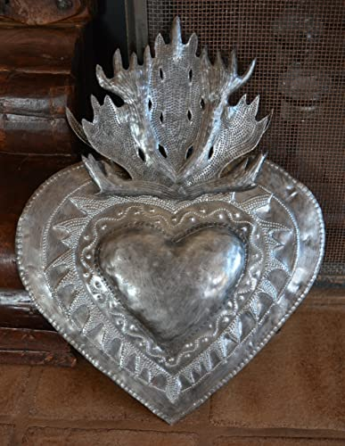 Flaming Heart Wall Decor, Erzulie, Home Metal Art from Haiti 13 in. X 16.5 in.