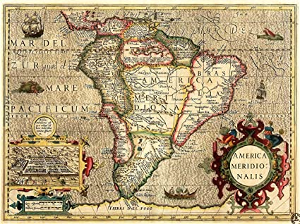 Amazon.com: Art Map Old South America Mercator Brazil Ocean ...