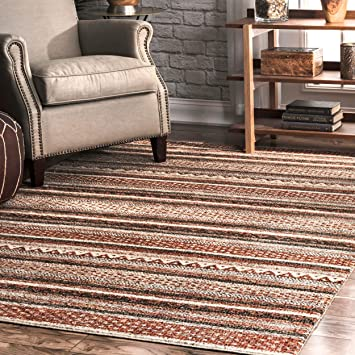 Amazon Com Nuloom Laverne Soutwestern Striped Area Rug 5 X 8 Brown Furniture Decor
