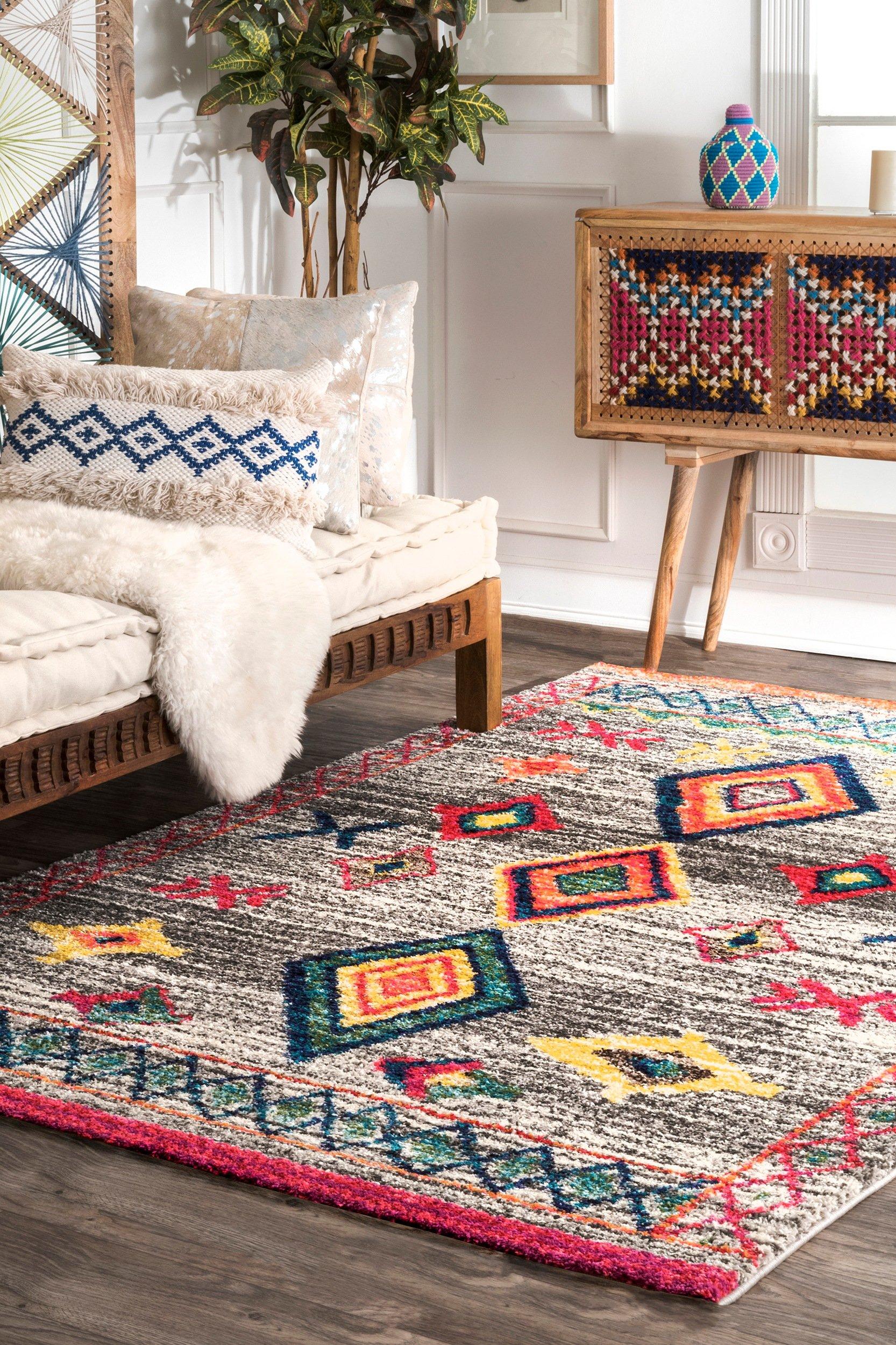 "nuLOOM Nizhoni Tribal Shag Rug, 6' 7"" x 9', Dark Grey - Material: 100% polypropylene Weave: machine made Made in Turkey - living-room-soft-furnishings, living-room, area-rugs - A1meyY1JnpL -"