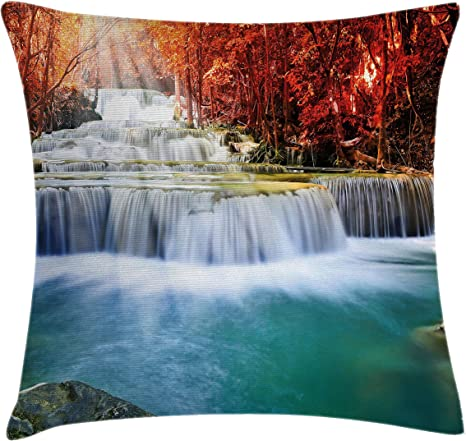 Amazon Com Ambesonne Waterfall Throw Pillow Cushion Cover Majestic Waterfall Circled By Red Fall Season Trees With Radiate Of Sun Decorative Square Accent Pillow Case 18 X 18 Teal Scarlet Red Home