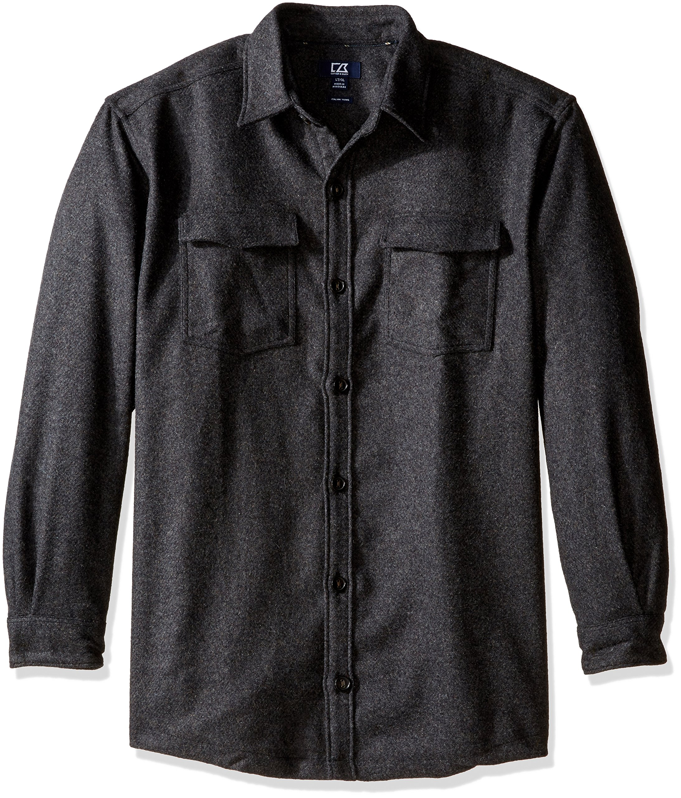 Cutter & Buck Men's Big and Tall Long Sleeve Virany Shirt Jacket, Black, 2XT