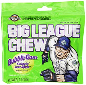 Big League Chew, Swingin' Sour Apple Bubble Gum, 2.12-Ounce Pouches (Pack of 12)