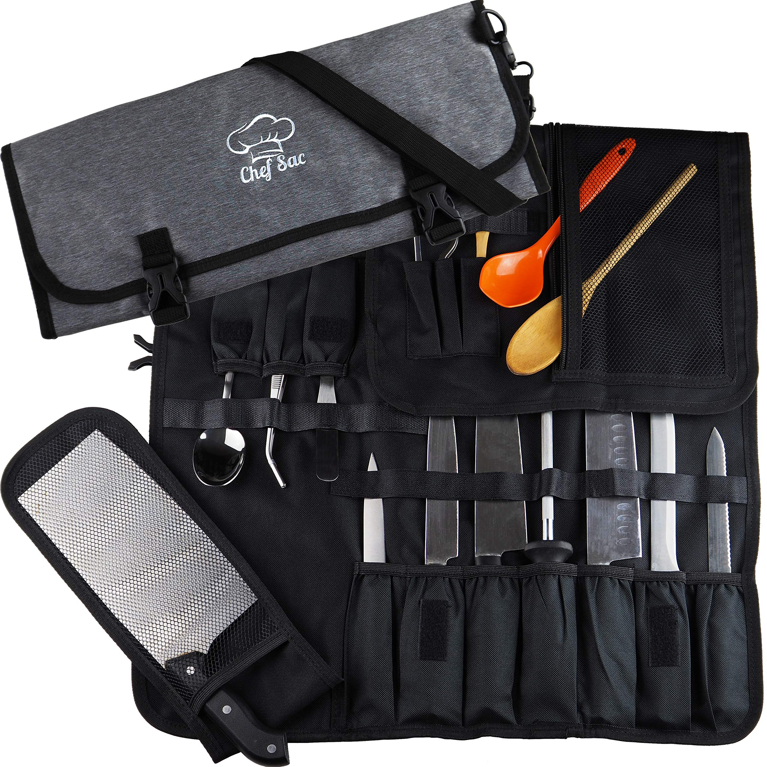 Chef Knife Roll Bag| 8+ Pockets for Knives & Kitchen Utensils | Mesh Pocket Material | Great Gift for Executive Chefs & Culinary Students by Chef Sac