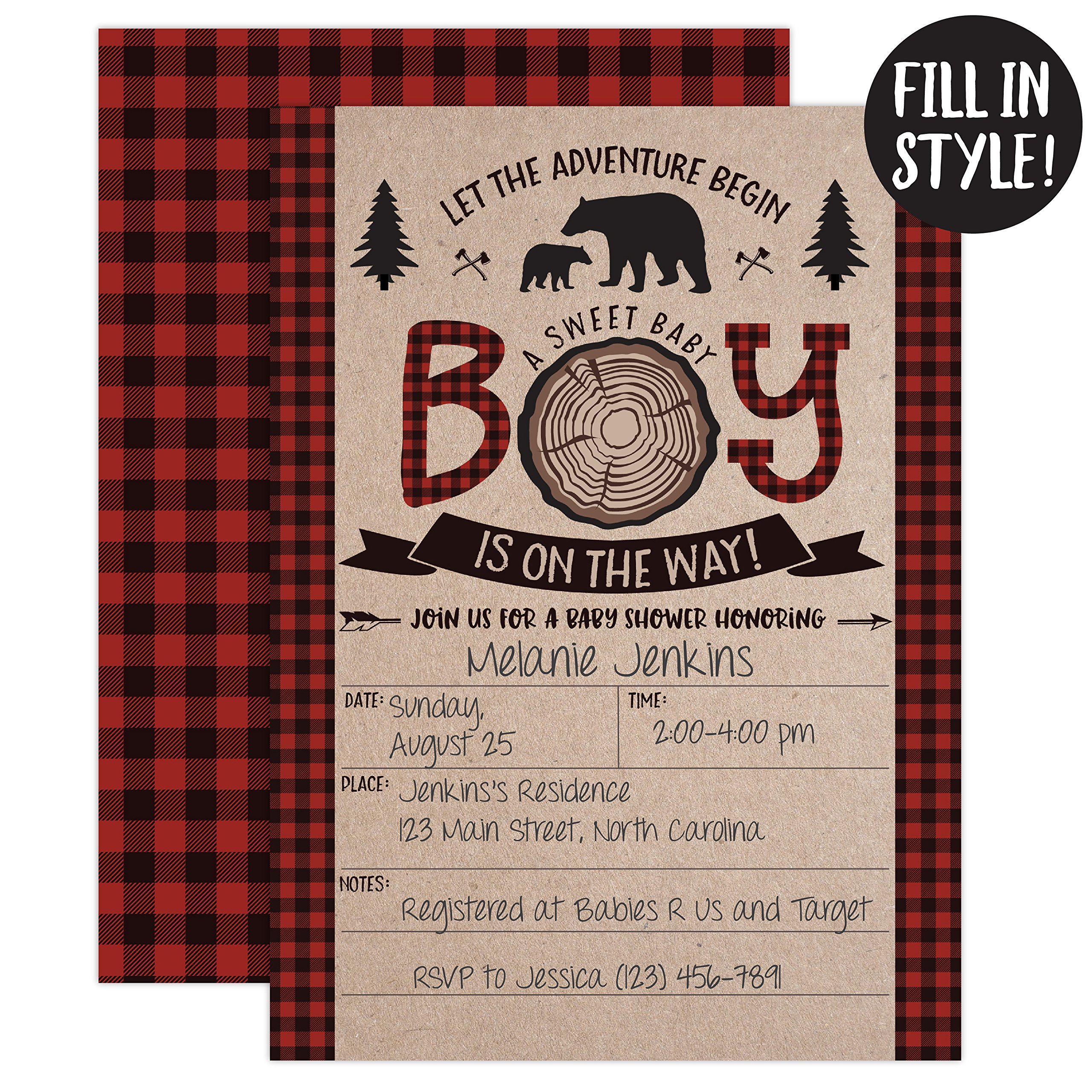 Lumberjack Baby Shower Invitations, Boy Baby Shower Invitations, Mama Bear Baby Shower Invites, Woodland Baby Shower Invitations, 20 Fill in Invitations and Envelopes by Your Main Event Prints (Image #2)