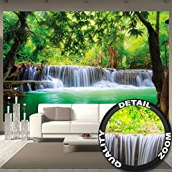 Fototapete Wasserfall Feng Shui Wandbild Dekoration Natur Dschungel Landschaft Paradies Urlaub Thailand Asien Wellness Spa Relax | Foto-Tapete Wandtapete Fotoposter Wanddeko by GREAT ART (336 x 238cm)