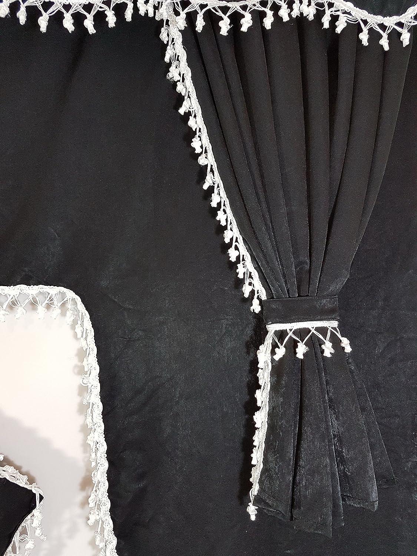 tama/ño universal para todos los modelos de cami/ón accesorio de cabina Juego de 5/piezas de cortinas color negro en terciopelo con borlas de color blanco