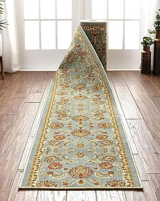 Blue Trellis Runner Long Stair Carpet Hall Mat Rug Stairway Hard Back Any Length
