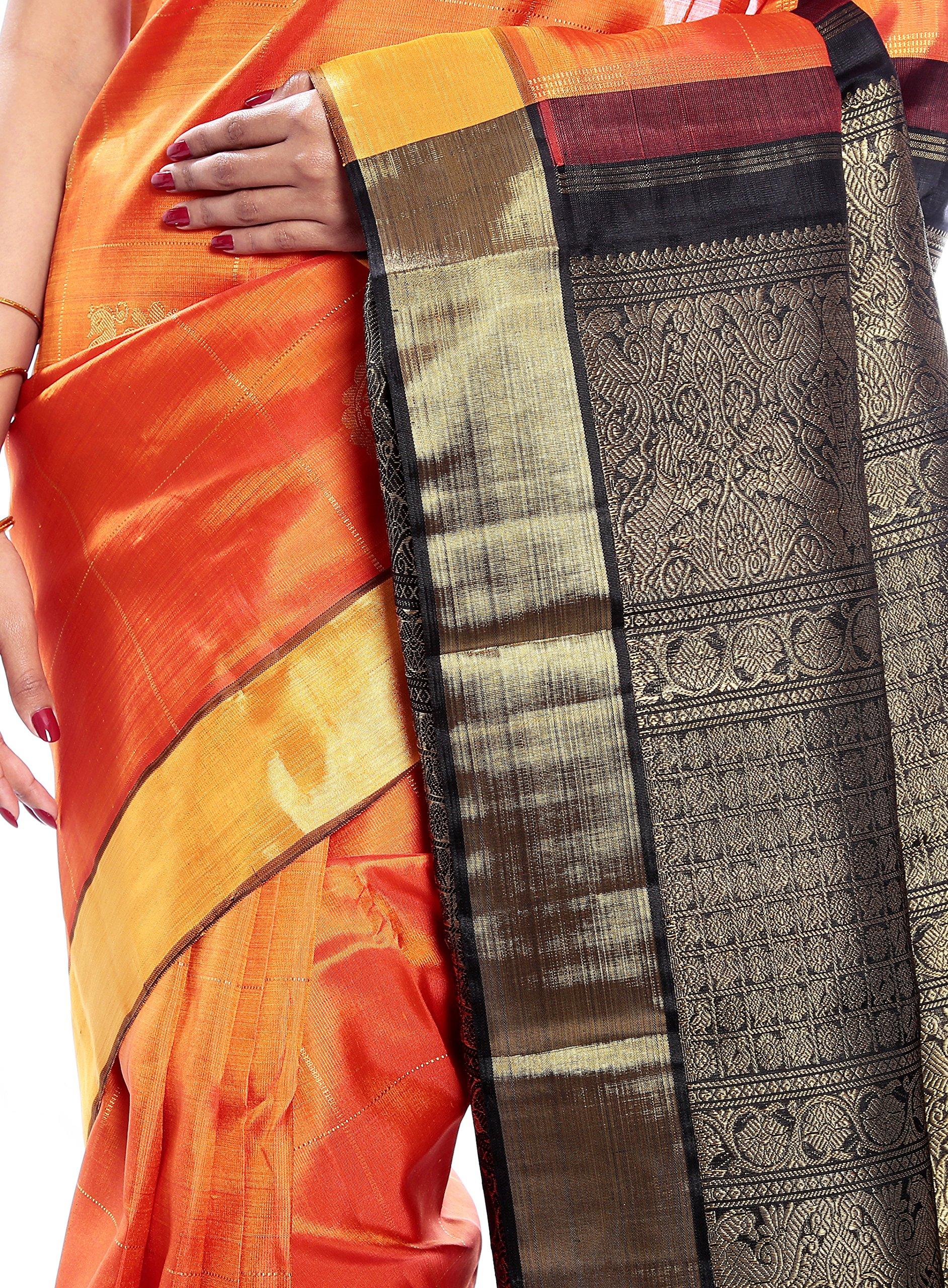 Mandakini — Indian Women's Kanchipuram - Handloom - Pure Zari & Pure Silk Saree (Orange ) (MK207) by Mandakini (Image #4)