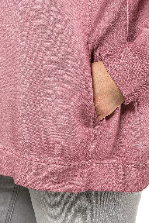 Innenseite aus Fleece Sweatshirt Cold Dyed Ulla Popken Damen gro/ße Gr/ö/ßen bis 64 715113 Stehkragen Lange Raglan/ärmel