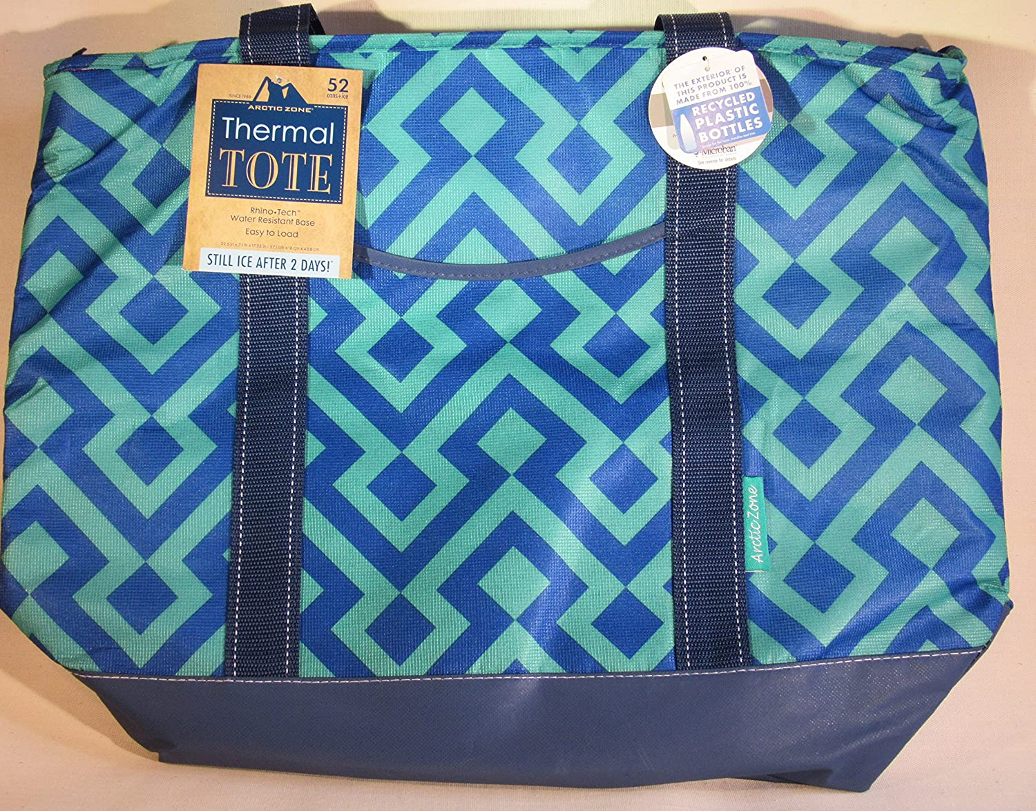 Arctic Zone Thermal Tote - 22.5 x 7.1 x 17.25 - Spring 2016 Colors (Navy/Green Geometric)