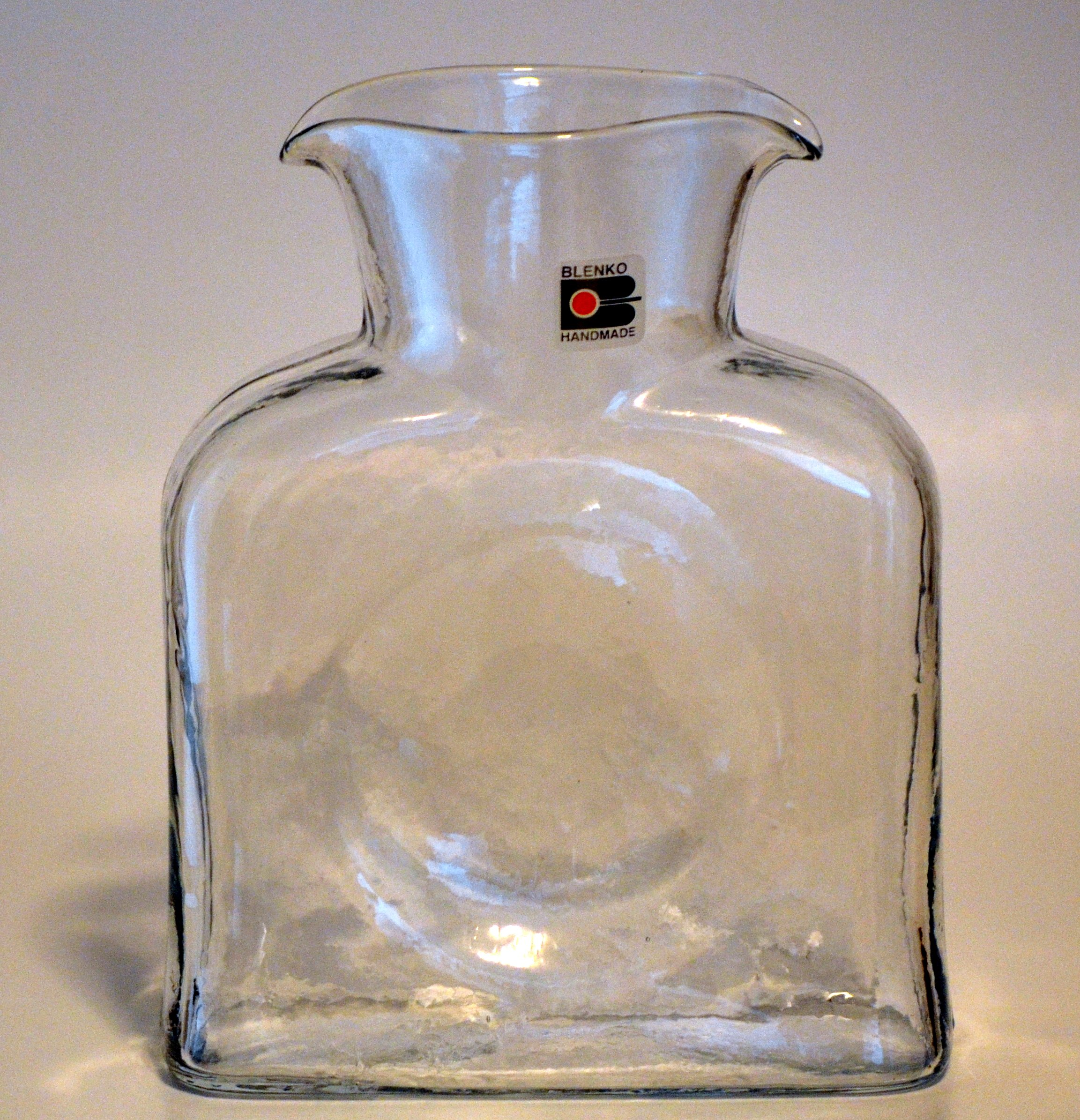 Blenko Art Glass Water Carafe Bottle Vase Crystal Clear
