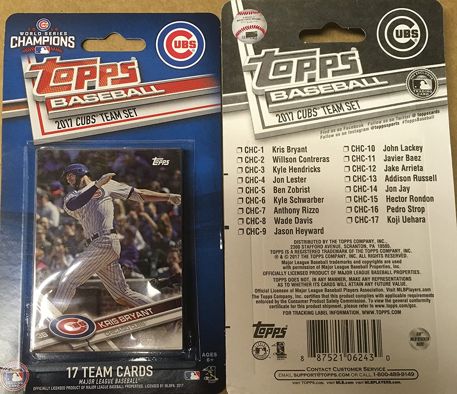 2017 Topps CHICAGO CUBS Factory Sealed Team 17 Card Set 2016 World Series Champions Anthony Rizzo Jake Arrieta John Lester Kyle Hendricks Kris Bryant at ...