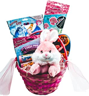 Amazon happy easter basket jumbo kids toddlers gift children disney princess easter basket girls prefilled gift bundle with easter bunny or lamb plush negle Image collections