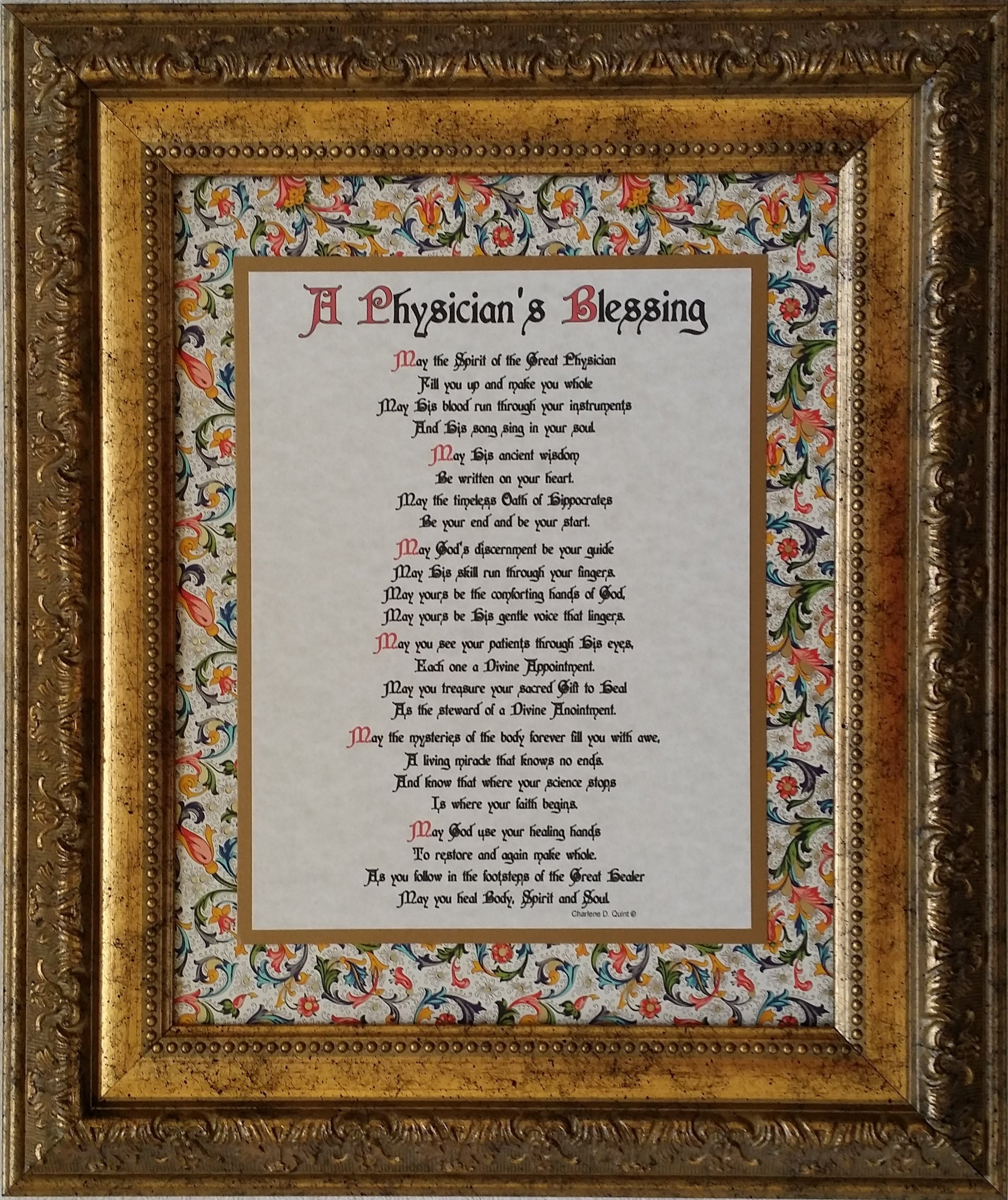 A Physician's Blessing - Framed Inspirational Prayer - Gift for a Special Doctor or Graduation from Medical School